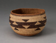 Bowl-Shaped Basket with Stepped-Triangle Design Encircling Middle