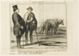 """The Parisian """"- Tell me, good man, what are you doing with all these cows once they have become old and don't give milk any more? The Cowherd """"- Silly question... we make oxen out of them!,"""" plate 13 from Ces Bons Parisiens"""