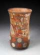 Beaker Depicting Warriors Holding Feathered Staffs with Regalia