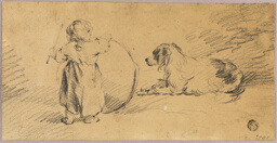 Child Playing with Ball and Dog
