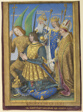 Louis XII Kneeling in Prayer Accompanied by Saint Michael, Saint Charlemagne, Saint Louis, and Saint Denis; a full-page miniature removed from the Hours of Louis XII