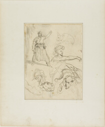 Studies of a Blacksmith and a Horse's Head with Sketches of Other Figures and a Rabbit